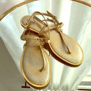 }}} Gold Michael Kors Flat Sandals {{{